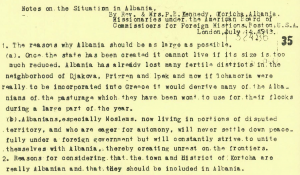 "Kennedy: ""The Situation in Albania"" (14 July 1913)"